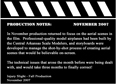 Production Notes 11-1-07