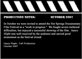 Production Notes October 2007