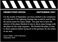 Production Notes September 2007