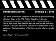 Production Notes 10-24-08